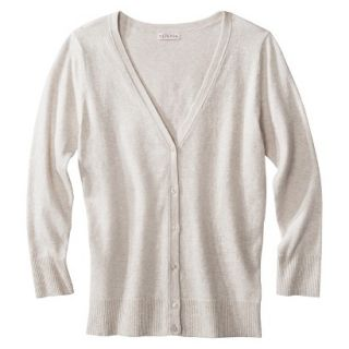 Merona Womens Ultimate 3/4 Sleeve Crew Neck Cardigan   Oatmeal   L