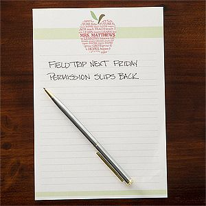 Personalized Teachers Note Pads   Apple Scroll