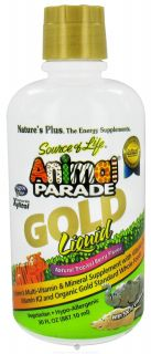 Natures Plus   Source of Life Animal Parade Gold Liquid Childrens Multi Vitamin & Mineral Natural Tropical Berry Flavor   30 oz.