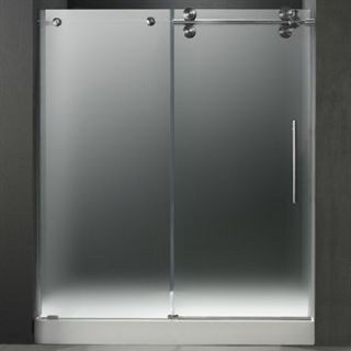 VIGO 60 inch Frameless Shower Door 3/8 Frosted/Stainless Steel Hardware Right w
