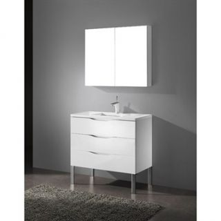 Madeli Milano 36 Bathroom Vanity with Quartzstone Top   Glossy White