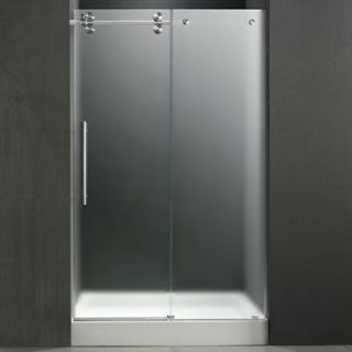 VIGO 48 inch Frameless Shower Door 3/8 Frosted/Chrome Hardware Left with White