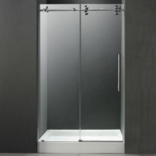 VIGO 60 inch Frameless Shower Door 3/8 Clear/Stainless Steel Hardware with Whit
