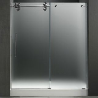 VIGO 60 inch Frameless Shower Door 3/8 Frosted/Stainless Steel Hardware Left wi