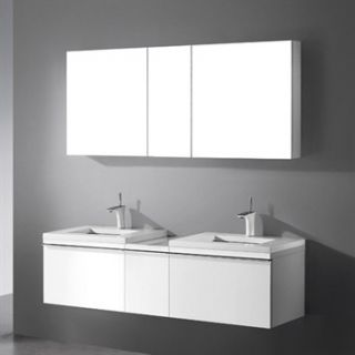 Madeli Venasca 60 Bathroom Vanity with Quartzstone Top   Glossy White