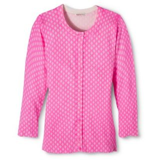 Merona Womens Ultimate 3/4 Sleeve Crew Neck Cardigan   Pink Print   XXL