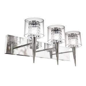 BAZZ Glam Series 3 Light Polished Chrome Wall Fixture with Clear Round Glass and Glass Beads Inserts M3823CB