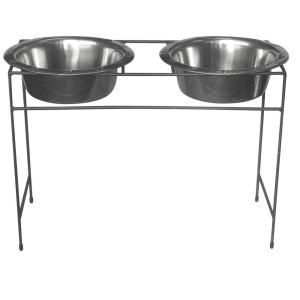Platinum Pets 12 Cup Wrought Iron Modern Diner Dog Stand with Extra Wide Rimmed Bowls in Chrome MDDS96BCH