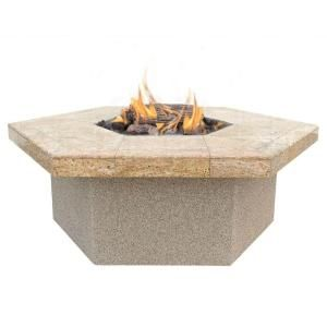Cal Flame Stucco and Tile Hexagon Propane Gas Fire Pit FPT H401 H