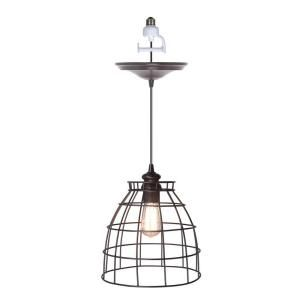 Worth Home Products 1 Light Brushed Bronze Instant Pendant Light Conversion Kit and Cage Shade PBN 5034 0011