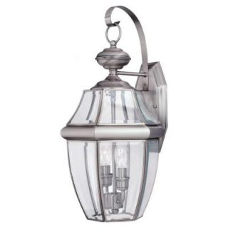 Sea Gull Lighting Lancaster 2 Light Outdoor Antique Brushed Nickel Wall Fixture 8039 965