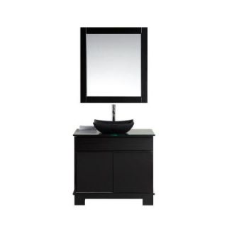 Design Element Oasis 36 in. Single Vanity in Espresso with Glass Vanity Top and Mirror in Brown DEC105 36