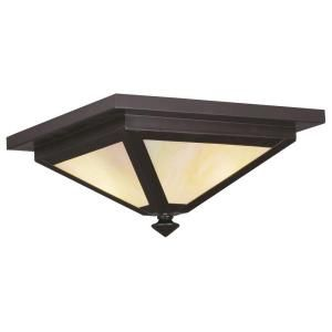 Filament Design Providence Collection 2 Light 6.0 in. Outdoor Bronze Iridescent Tiffany Glass Flush Mount CLI MEN2147 07
