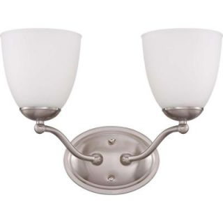 Illumine Patton 2 Light Brushed Nickel Vanity Fixture with Frosted Glass Shade HD 5032