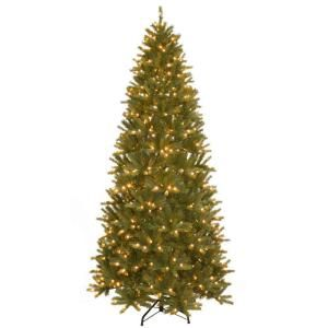 National Tree Company Feel Real 9 ft. Black Hill Medium Hinged Tree with 600 LED Clear Lights PEBH4 302L 90X
