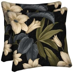 Hampton Bay Black Tropical Blossom Outdoor Throw Pillow JC19554B 9D4