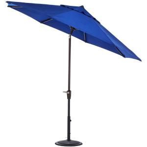 Home Decorators Collection 7.5 ft. Auto Tilt Patio Umbrella in Blue Sunbrella with Black Frame 1548830310