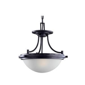 Sea Gull Lighting Winnetka 2 Light Blacksmith Semi Flush Mount Fixture 77660 839