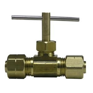 Watts 1/4 in. Brass Compression Angle Needle Valve with Chrome Plating LF A42