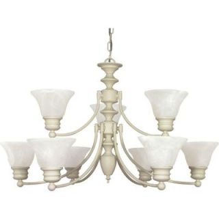 Glomar Empire 9 Light Textured White 2 Tier Chandelier with Alabaster Glass Bell Shades HD 363