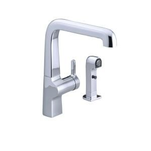 KOHLER Evoke Single Hole 1 Handle High Arc Kitchen Sink Faucet with Sidespray in Polished Chrome K 6334 CP