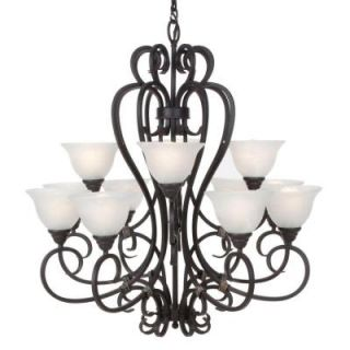 Hampton Bay 12 Light Hanging Rust Chandelier DISCONTINUED HD302503