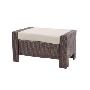Hampton Bay Beverly Patio Ottoman with Beige Cushion 65 9102332B