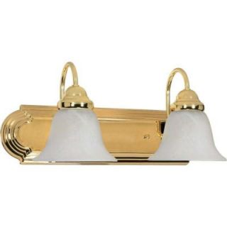 Glomar Ballerina 2 Light Polished Brass Vanity with Alabaster Glass Bell Shades HD 328