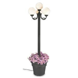 Patio Living Concepts European Park Style Four White Globe Plug In Outdoor Black Lantern with Planter 390