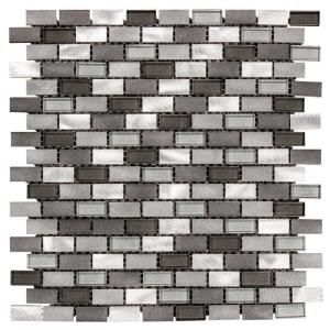 Jeffrey Court Stealth 12 in. x 12 in. x 8 mm Glass/Metal Mosaic Wall Tile 99588