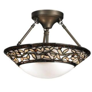 Dale Tiffany Cyprus Oaks 2 Light Dark Bronze Art Glass Semi Flush Mount TH12320