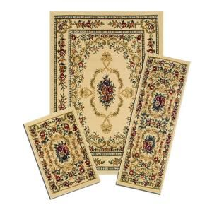 Capri Savonnerie Beige 3 Piece Set Contains 5 ft. x 7 ft. Area Rug, Matching 22 in. x 59 in. Runner and 22 in. x 31 in. Mat X470/372 W