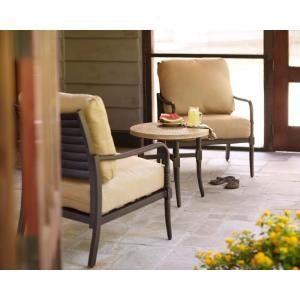 Hampton Bay Madison 3 Piece Patio Chat Set with Textured Golden Wheat Cushions DISCONTINUED 13H 001 3SS