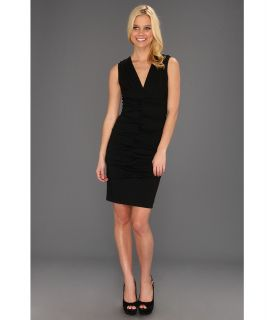 Nicole Miller Dakota V Neck Pleated Dress Womens Dress (Black)