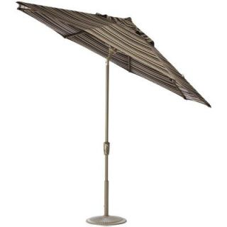 Home Decorators Collection 6 ft. Auto Tilt Patio Umbrella in Espresso Stripe Sunbrella with Champagne Frame 1548720880