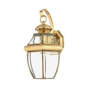 Filament Design 1 Light Outdoor Polished Brass Clear Glass Wall Mount Light CLI GH8009086