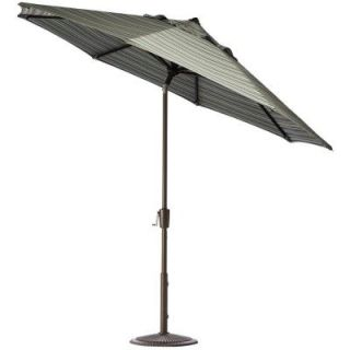 Home Decorators Collection 11 ft. Auto Tilt Patio Umbrella in Cilantro Stripe Sunbrella with Bronze Frame 1549710620