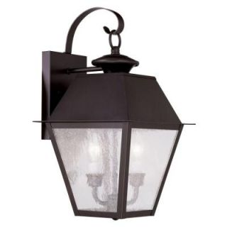 Filament Design Providence Wall Mount 2 Light Outdoor Bronze Incandescent Lantern CLI MEN2165 07