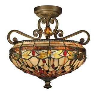 Dale Tiffany Briar Dragonfly 2 Light Antique Golden Sand Semi Flush Mount with Art Glass Shade TH10099