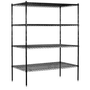 Salsbury Industries 9600S Series 60 in. W x 74 in. H x 24 in. D Industrial Grade Welded Wire Stationary Wire Shelving in Black 9654S BLK