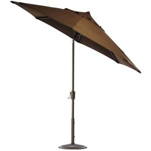 Home Decorators Collection 6 ft. Auto Tilt Patio Umbrella in Teak Sunbrella with Bronze Frame 1548710980