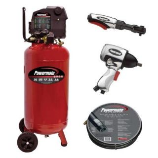 Powermate 20 Gal. Portable Vertical Air Compressor with Accessories PL1582019.KIT