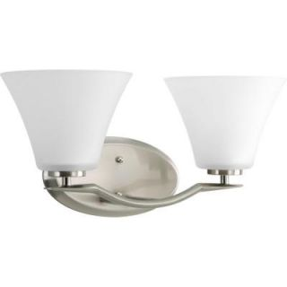 Progress Lighting Bravo Collection 2 Light Brushed Nickel Vanity Fixture P2005 09