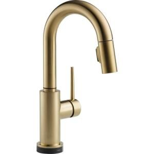 Delta Trinsic Single Handle Pull Down Sprayer Bar Faucet Featuring Touch2O Technology in Champagne Bronze 9959T CZ DST