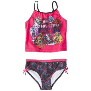 Monster Chic Girls 2 Piece Tankini Swimsuit Set   Raspberry 6/6X