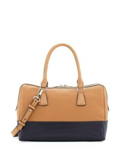 Dara Colorblocked Leather Satchel Bag, Tan/Black