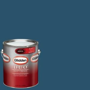 Glidden Team Colors 1 gal. #NFL 175E NFL Miami Dolphins Blue Flat Interior Paint and Primer NFL 175E F 01