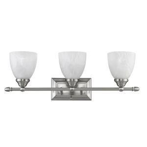 Chloe Lighting Eva Transitional 3 Light 24 in. Wall White Bath Vanity Fixture with Brushed Nickel Alabaster Glass Shade CH21004BN24 BL3