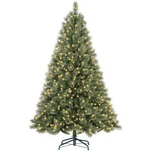 Martha Stewart Living 7.5 ft. Pre Lit Glittery Gold Pine Christmas Tree with 600 Clear Ready Lit Lights GPG3 319E 75X