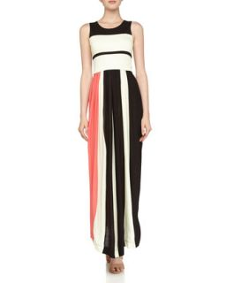 Striped Pleated Maxi Dress, Black/Acid Zest/Party Pink